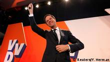 15.03.2017 Dutch Prime Minister Mark Rutte of the VVD Liberal party appears before his supporters in The Hague, Netherlands, March 15, 2017. REUTERS/Yves Herman TPX IMAGES OF THE DAY