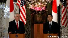 16.03.2017+++ U.S. Secretary of State Rex Tillerson (L) speaks next to Japan's Foreign Minister Fumio Kishida during their joint news conference after their meeting at the foreign ministry's Iikura guest house in Tokyo, Japan March 16, 2017. REUTERS/Toru Hanai