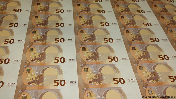 New 50-Euro banknotes on the printing press (European Central Bank)