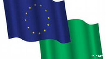 Montage of EU and Libyan flags