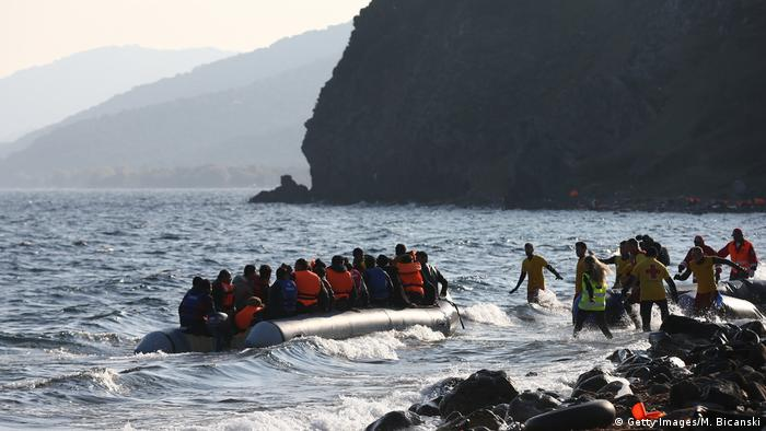 A boat load of migrants in Greece