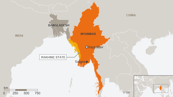 Map showing Myanmar and Rakhine state