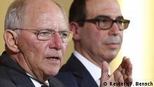 U.S. Treasury Secretary Steve Mnuchin and German Finance Minister Wolfgang Schaeuble in Berlin, Germany, March 16, 2017. REUTERS/Fabrizio Bensch