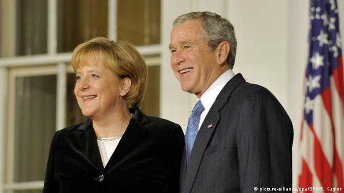 USA Deutschland Merkel mit George W. Bush im Weißen Haus