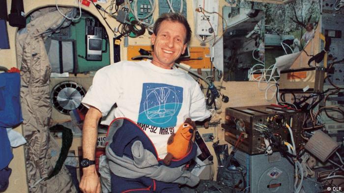 Klaus Dietrich Flade auf der Raumstation MIR