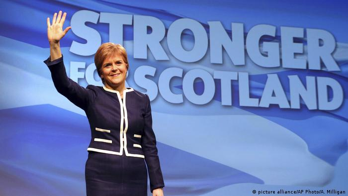 Scotland's First Minister and Scottish National Party leader Nicola Sturgeon waves during the SNP Spring Conference