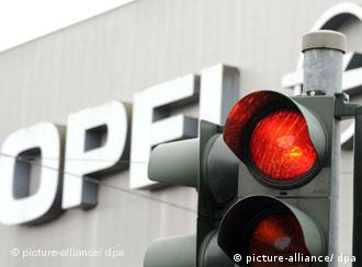 An opel factory and red light