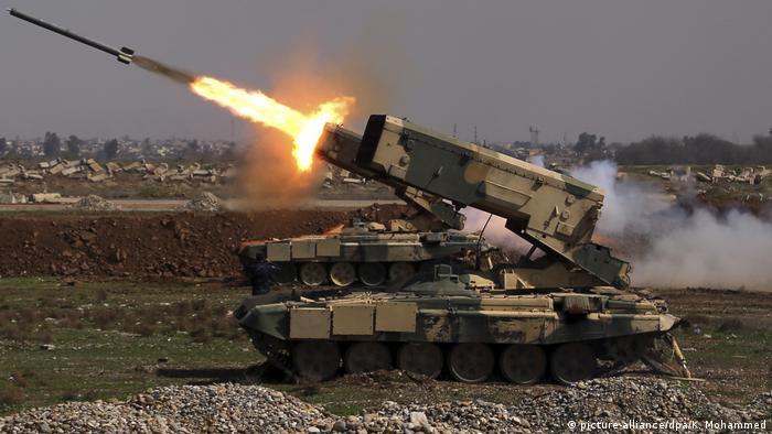Военная техника во время штурма Мосула