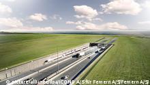 Illustration Fehmarnbelt-Tunnel zwischen Dänemark und Deutschland
