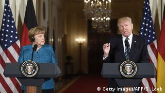USA Merkel und Trump - PK (Getty Images/AFP/S. Loeb)