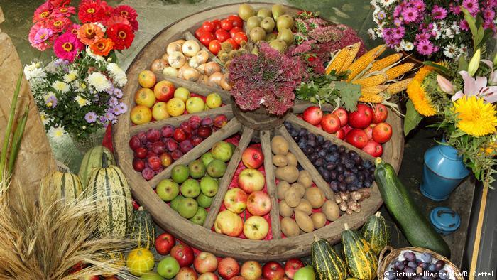 Erntedankfest mit Erntedankgaben (picture alliance/dpa/R. Oettel)