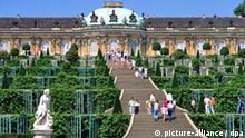 Besucher auf den Stufen des terrassenförmig angelegten Weinberges am Schloss Sanssouci in Potsdam. Schloss und Park Sanssouci zählen zu den bekanntesten Ausflugszielen in Deutschland. Das einst vom Architekten Georg Wenzeslaus von Knobelsdorff gebaute Schloss ist Unseco-Weltkulturerbe. Undatierte Aufnahme.