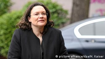Bundesarbeits- und Sozialministerin Andrea Nahles (Foto: picture alliance/dpa/H. Kaiser)
