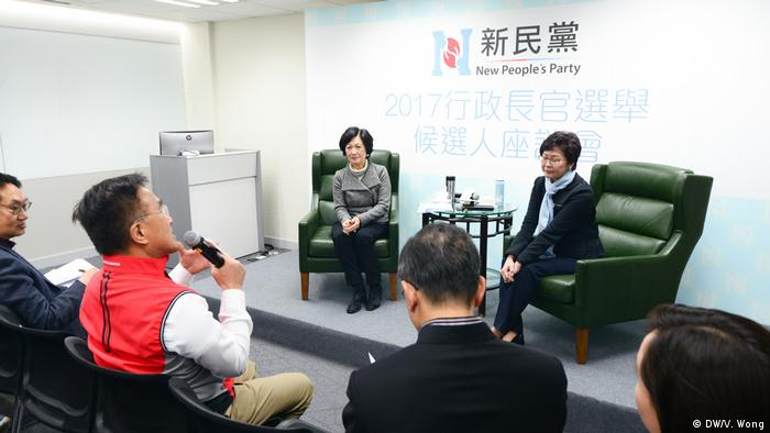 Hongkong New People's Party | Carrie Lam und Regina Ip (DW/V. Wong)
