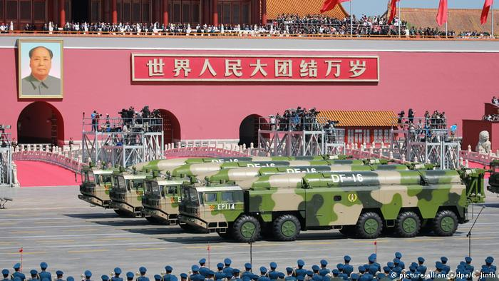 Military vehicles carrying DF-16 short-range ballistic missiles march past the Tiananmen Rostrum during the military parade to commemorate the 70th anniversary of the victory in the Chinese People's War of Resistance Against Japanese Aggression in Beijing