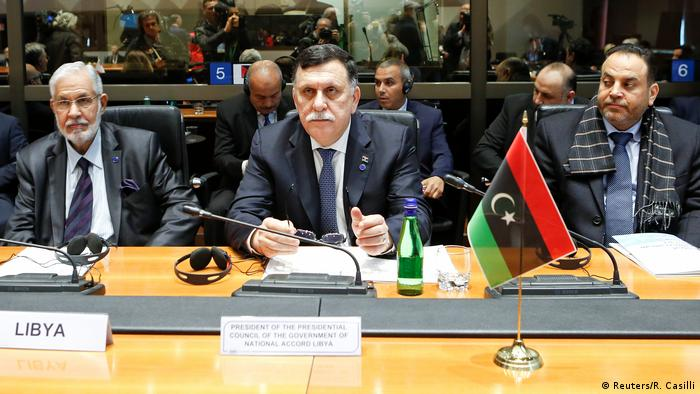 Italien Treffen Innenminister zum Thema Migration | Taha Siala, Libyen & Serraj, Libyen & Al-Aref Al-Khoja, Libyen (Reuters/R. Casilli)