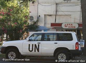 Автомобиль миссии ООН в Абхазии
