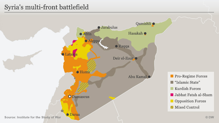 Areas controlled by various forces in Syria
