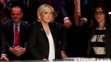 20.03.2017+++ Candidate for the 2017 presidential election Marine Le Pen, French National Front (FN) political party leader, arrives for a debate organised by French private TV channel TF1 in Aubervilliers, outside Paris, France, March 20, 2017. REUTERS/Patrick Kovarik/Pool
