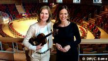 Violinistin Lisa Batiashvili mit Sarah Willis im Pierre Boulez Saal in Berlin. DW, Christopher Rowe, 9. März 2017