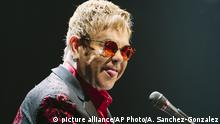British musician Elton John performs during his Wonderful Crazy Night Tour 2017 at Montana State University in Bozeman, Mont., Tuesday, March 8, 2017. (Adrian Sanchez-Gonzalez/Montana State University via AP)  