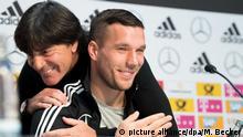 Pressekonferenz der Fußball-Nationalmannschaft Joachim Löw Lukas Podolski