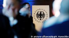 The BND logo pictured at the 60th anniversary of the founding of the intelligence agency in Berlin