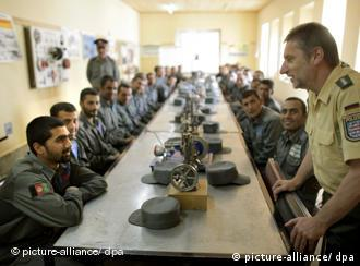 A German police officer conducts a training class in Afghanistan