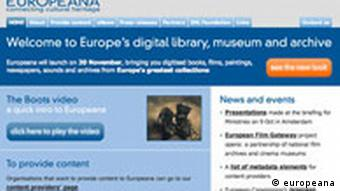 Screenshot Europeana Internetportal