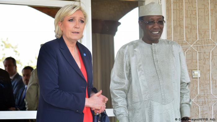 Marine Le Pen with Chad's president Idriss Deby