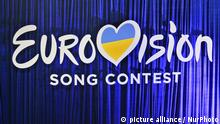 The Eurovision Song Contest 2017 logo is seen during the Ukrainian final of the national qualification for the Eurovision Song Contest (ESC) in Kiev, Ukraine, 25 February, 2017. Band O.Torvald will represent Ukraine during the Eurovision Song Contest, two semi-finals that will be held on 9 and 11 May and a grand final that will take place at the International Exhibition Centre in Kiev on 13 May. (Photo by STR/NurPhoto) | Keine Weitergabe an Wiederverkäufer.