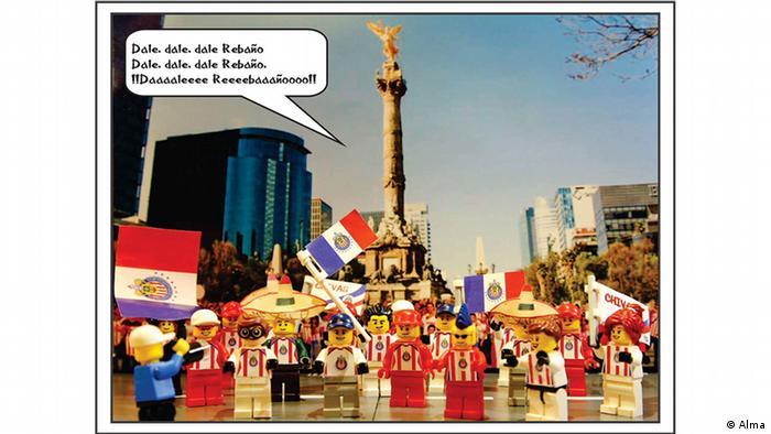 Fotomontaje con muñecos de Lego vestidos como hinchas del club Chivas.