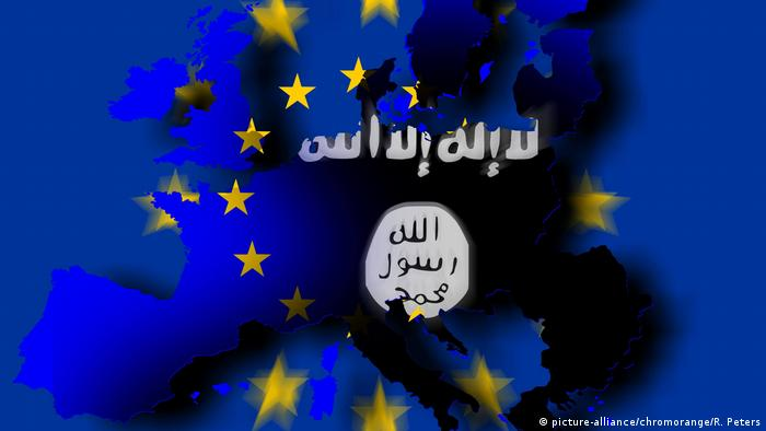 Graphic of IS logo on an EU map (picture-alliance/chromorange/R. Peters)