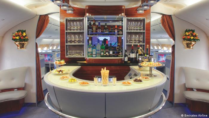 A bar on an Airbus A380 plane (Emirates Airline)