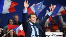 French presidential election candidate for the En-Marche movement Emmanuel Macron gestures at supporters during a campaign rally in Dijon on March 23, 2017. / AFP PHOTO / Eric FEFERBERG (Photo credit should read ERIC FEFERBERG/AFP/Getty Images)