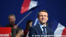 French presidential election candidate for the En-Marche movement Emmanuel Macron delivers a speech during a campaign rally in Dijon on March 23, 2017. / AFP PHOTO / Eric FEFERBERG (Photo credit should read ERIC FEFERBERG/AFP/Getty Images)