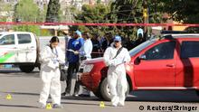 23.03.2017 Forensic technicians work at a crime scene where journalist Miroslava Breach was killed by unknown assailants in Chihuahua, Mexico March 23, 2017. REUTERS/Stringer FOR EDITORIAL USE ONLY. NO RESALES. NO ARCHIVES.