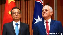 Chinese Premier Li Keqiang and Australian Prime Minister Malcolm Turnbull meet for talks in Canberra