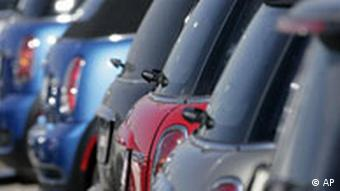 Mini Coopers parked in a dealership