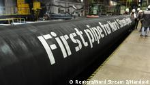 23.03.2017**** A handout by Nord Stream 2 claims to show the first pipes for the Nord Stream 2 project at a plant of OMK, which is one of the three pipe suppliers selected by Nord Stream 2 AG, in Vyksa, Russia, in this undated photo provided to Reuters on March 23, 2017. Nord Stream 2/Handout via REUTERS ATTENTION EDITORS - THIS PICTURE WAS PROVIDED BY A THIRD PARTY. FOR EDITORIAL USE ONLY. NO RESALES. NO ARCHIVE. Optimiert für mobile Angebote