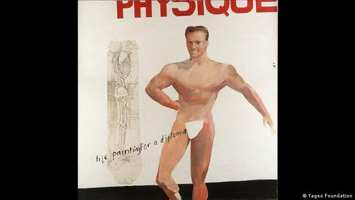 En la formación de David Hockneys en el Royal Collage of Art también se incluía la pintura de desnudos. Pero los modelos no le parecían lo suficientemente atractivos y no lo inspiraban, escribio tiempo después en su autobiografía David Hockeney By David Hockney. Por eso, usó una edición de la revista estadounidense de físicoculturismo Physique, de la cual copió el modelo de la portada.