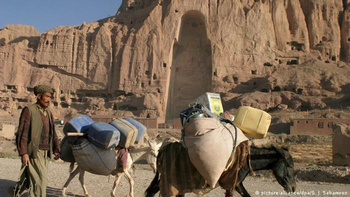 The remnants of the Bamiyan Buddhas in Aghanistan after the Taliban destroyed them in 2001 to ban idolatry