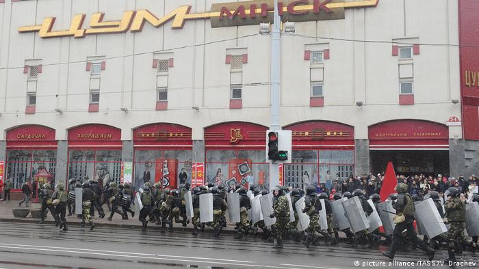 Riot police at an unauthorized opposition protest to mark the 99th anniversary of the establishment of the Belarusian People's Republic on March 25.