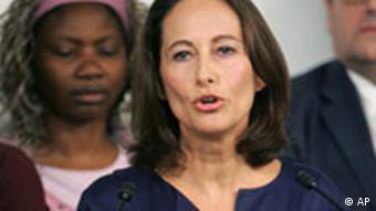 Segolene Royal, one of the two candidates who is campaigning to become head of France's Socialist Party addresses reporters during a press conference held in Poitiers, central France, Friday Nov. 21, 2008. French Socialists were to vote Friday on a new leader for their divided party with two women heading a tight race. Former presidential candidate Segolene Royal is battling with Martine Aubry, the author of France's 35-hour workweek law, to determine the party's direction. Poster reads: Hope is at the Left, proud to be socialist. (AP Photo/Remy de la Mauviniere)