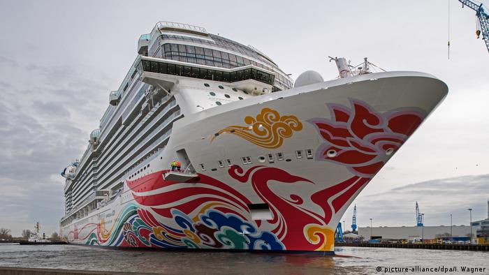 Massive German Built Cruise Ship Norwegian Joy Leaves