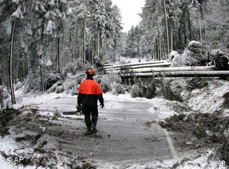 A rescue worker stands on a street that is blocked by falled trees