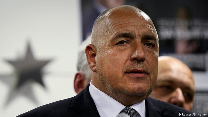 Former Bulgarian prime minister and leader of centre-right GERB party Boiko Borisov speaks during a news conference at the party's headquarters in Sofia (Reuters/S. Nenov)