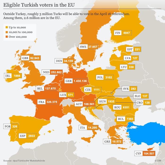 Infografik Karte Wahlberechtigte Türken in der EU Englisch