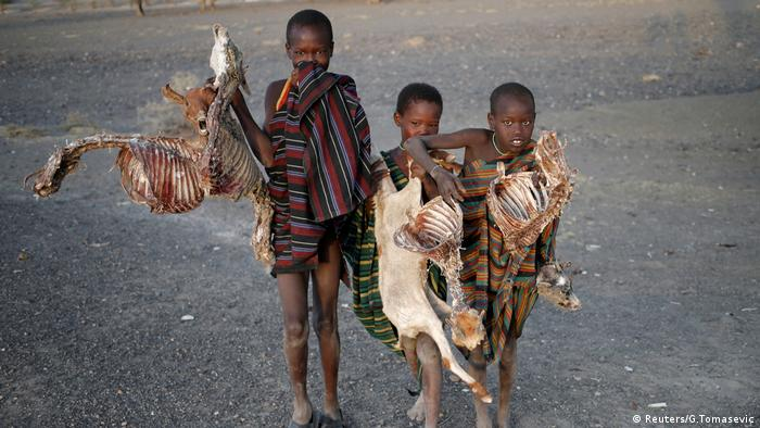 Boys carry carcasses of goats in a village near Loiyangalani, Kenya (Reuters/G.Tomasevic)