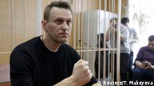 27.03.2017***** Russian opposition leader Alexei Navalny attends a hearing after being detained at the protest against corruption and demanding the resignation of Prime Minister Dmitry Medvedev, at the Tverskoi court in Moscow, Russia March 27, 2017. REUTERS/Tatyana Makeyeva